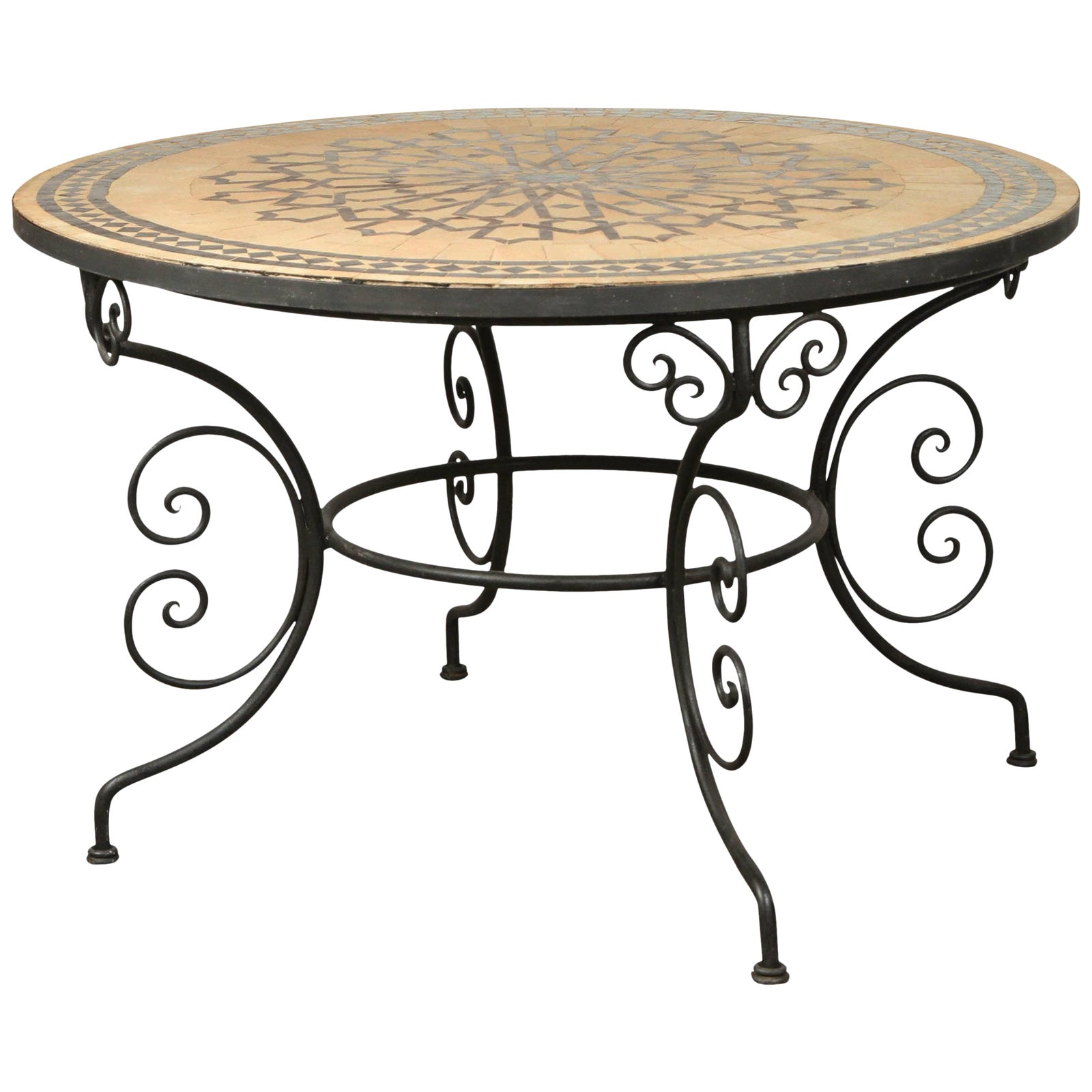 Lovely Moroccan Round Mosaic Outdoor Tile Table On Iron Base 47 In