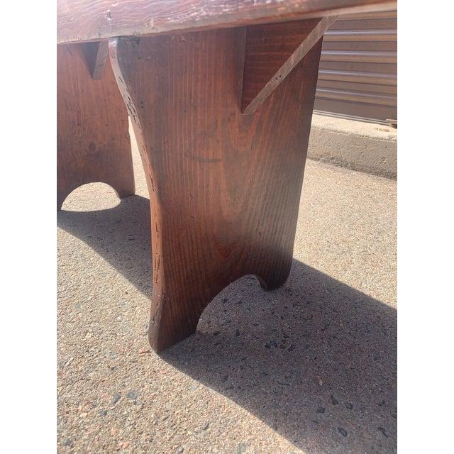 Brown 1920s Vintage Primitive Brown Pine Bench For Sale - Image 8 of 13