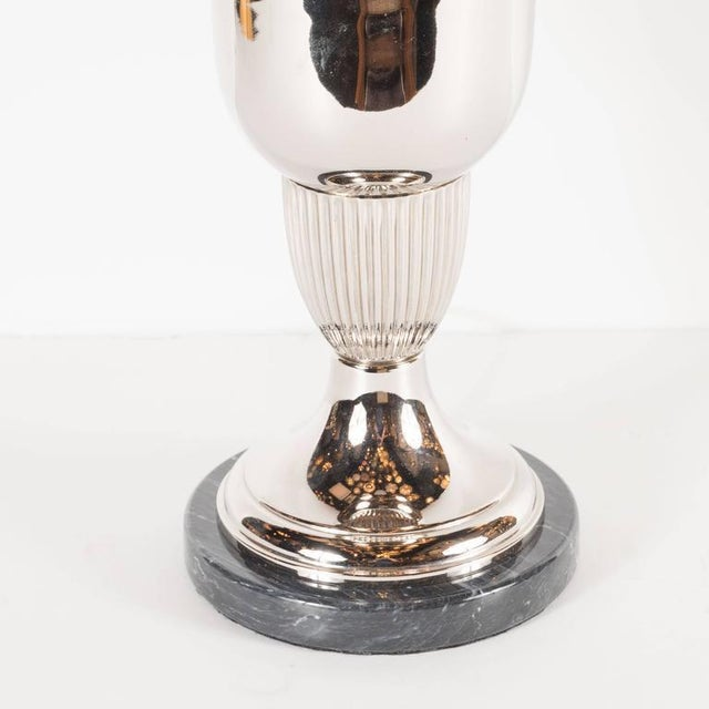 Elegant French Art Deco Marble and Chrome Uplights - Image 3 of 7