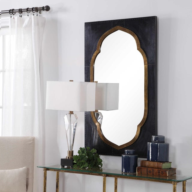 Moroccan Stained Copper and Brass Clad Mirror For Sale In Sacramento - Image 6 of 6