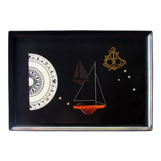 A Finely Crafted and Hand-Inlaid American Mid-Century Black Resin Tray by Couroc of Monterey For Sale
