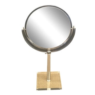 Mid-Century Lucite and Chrome Adjustable Table Mirror For Sale