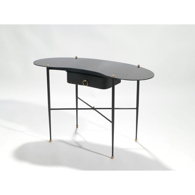 Black Jacques Adnet Leather Desk Vanity With Stool, 1940s For Sale - Image 8 of 13
