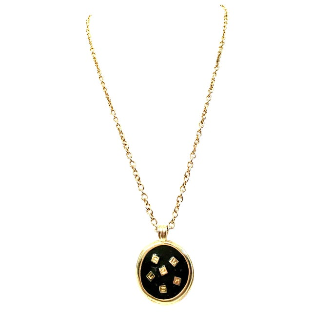 """20th Century Gold & Enamel """"G"""" Logo Reversible Givenchy Pendant Necklace For Sale"""