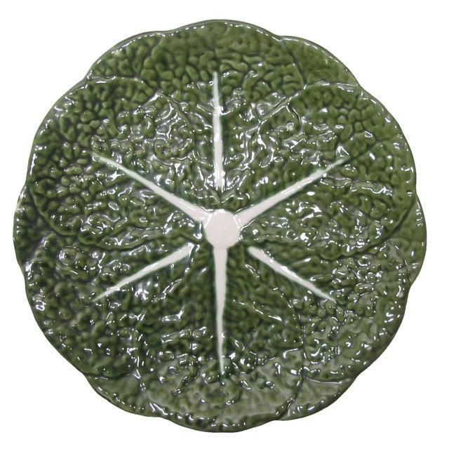 Portuguese Majolica Cabbage Leaf Platter For Sale - Image 4 of 4