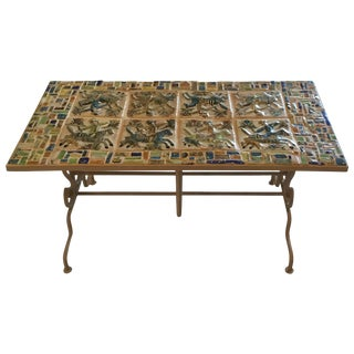 One of a Kind Persian Tile Coffee Table For Sale