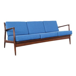 Danish Modern Walnut Sofa by Ib Kofod Larsen For Sale