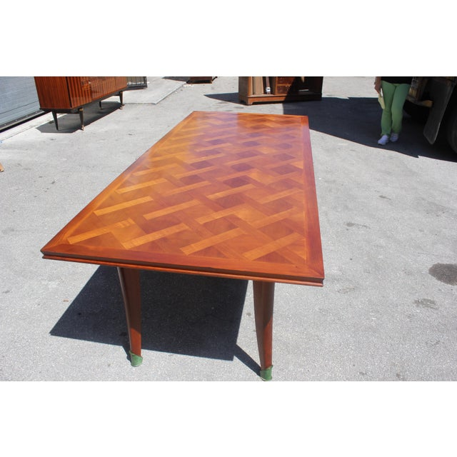 Master Piece French Art Deco Dining Table Cherry Wood By Leon Jallot 1930s For Sale In Miami - Image 6 of 13