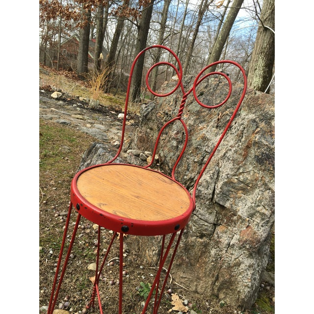 Vintage Red Iron Bar Stool - Image 5 of 6