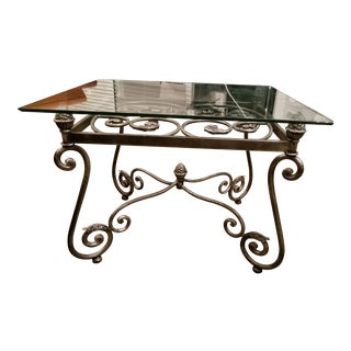 Decorative Iron & Glass Accent Table For Sale