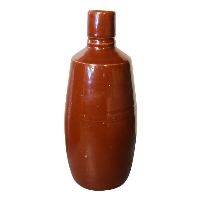 Mid 20th Century Reddish Brown Glazed Stoneware Bottle For Sale