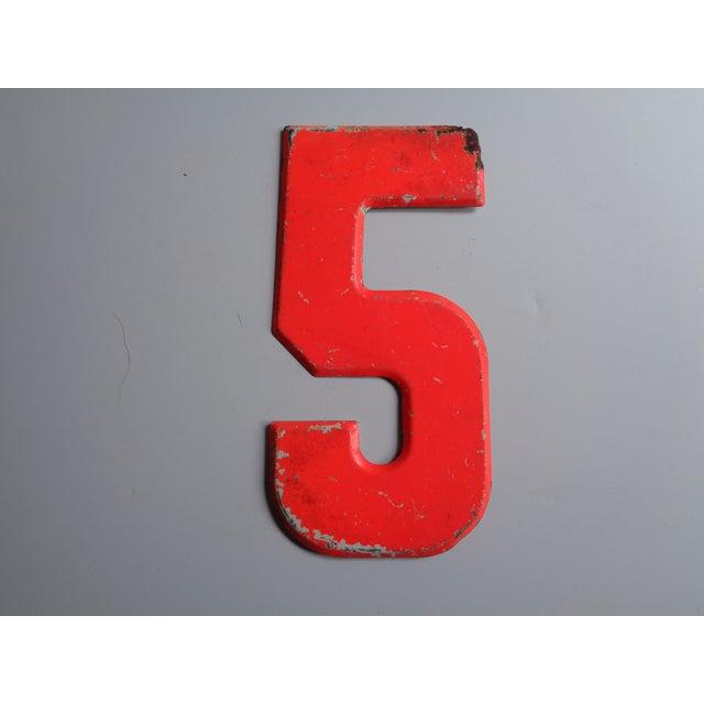 Vintage Rustic Neon Orange Metal Number '5' Sign - Image 4 of 4