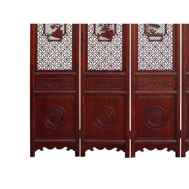 Chinese Reddish Brown Stain 4 Seasons Flower Wood Panel Floor Screen For Sale In San Francisco - Image 6 of 13