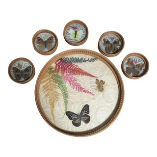 Vintage Mid 20th Century Pressed Butterfly Tray and Coaster Set - 6 Pieces For Sale