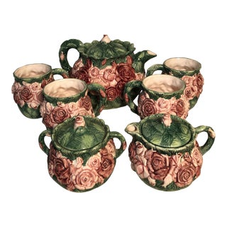 Vintage Haldon Group Rose Majolica Tea Set - 7 Pieces For Sale