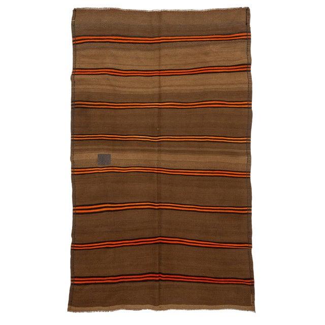 1960s Vintage Orange & Brown Striped Wool Kilim Rug- 5′10″ × 9′8″ For Sale