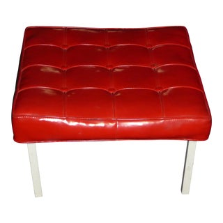 "Large 24""Squared Mid Century Modern Tufted Red Vinyl Bench / Stool Hollywood Regency For Sale"