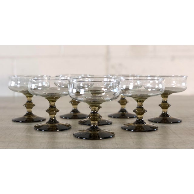 Vintage 1960s Smoked Base Glass Coupe Stems, Set of 8 For Sale - Image 9 of 9