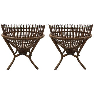Franco Albini Style Rattan Fish Trap Basket Tables - a Pair For Sale