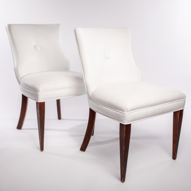 1930s Vintage French Leather Side Chairs- A Pair For Sale - Image 5 of 5