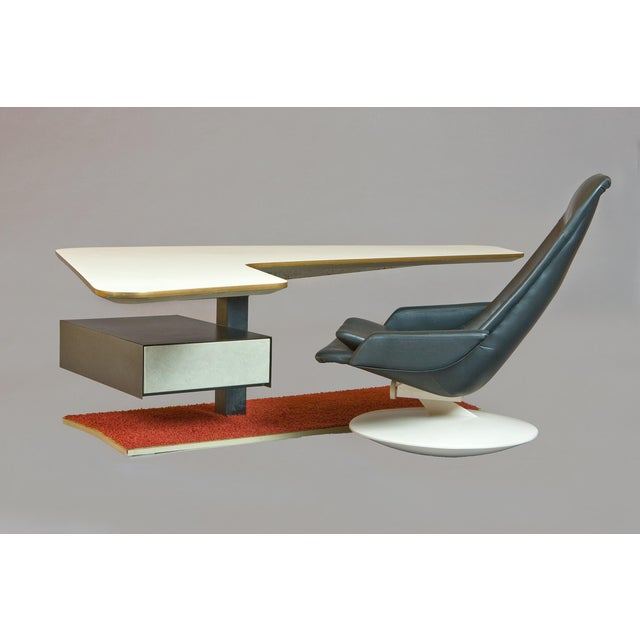 1970s 1970s Atomic Age Boomerang Desk and Gemini Leather Armchair - 2 Pieces For Sale - Image 5 of 5