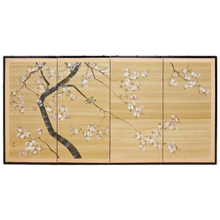 Japanese Four-Panel Screen Cherry Blossoms on Silk
