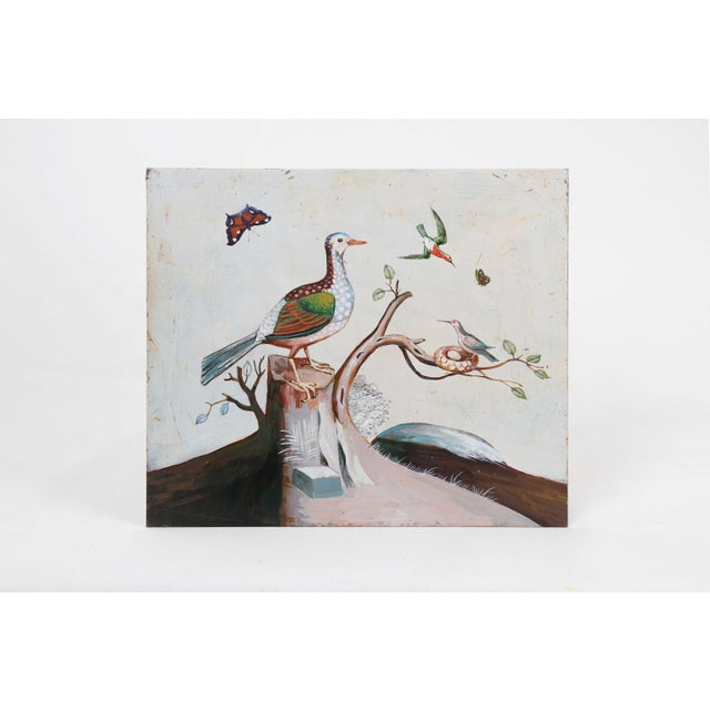 1960s Vintage Bird on Tree Stump Painting For Sale - Image 4 of 4