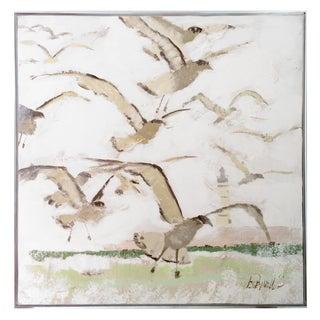 Large 1960s Vintage Lee Reynolds Seagulls and Lighthouse Coastal Modern Painting For Sale
