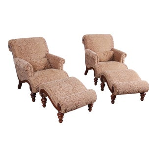 Drexel Heritage Upholstered Lounge Chairs and Ottomans, Pair For Sale