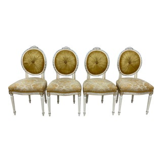 100% Made in Italy by Caspani Tino Part of the Sky Collection . Tino 24 Karat Gold Leaf Italian Dining Chairs - Set of 4 For Sale