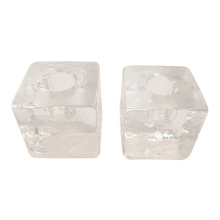 1960s Crystal Ice Cube Glass Taper Candle Holders - a Pair For Sale