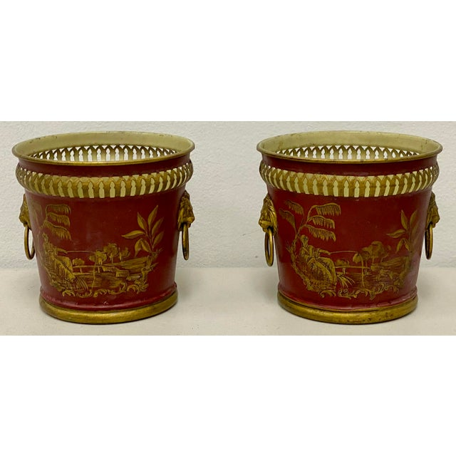 Ruby Red Pair of Signed French Tole Chinoiserie Cachepots / Planters For Sale - Image 8 of 8