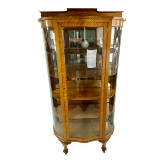 1900s Oak Double Bow Curved Claw Foot China Cabinet For Sale