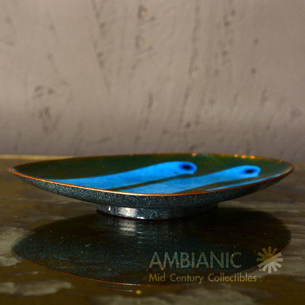 Mid-Century Modern Miguel Pineda Enamel on Copper Oval Dish For Sale - Image 3 of 9