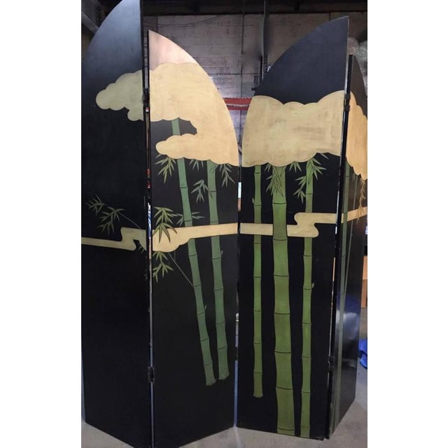 Black Four-Panel Art Deco Style Gold and Black Floor Screen For Sale - Image 8 of 9