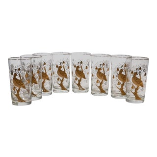 Partridge in a Pear Tree Cocktail Glasses - 8 For Sale