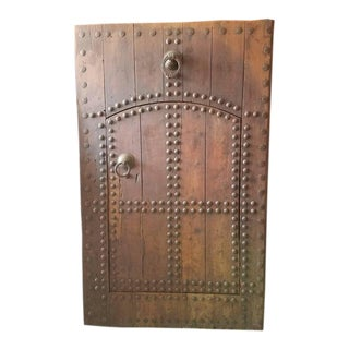 Old Oudaya Dark Tan Moroccan Door With Ring Knocker For Sale