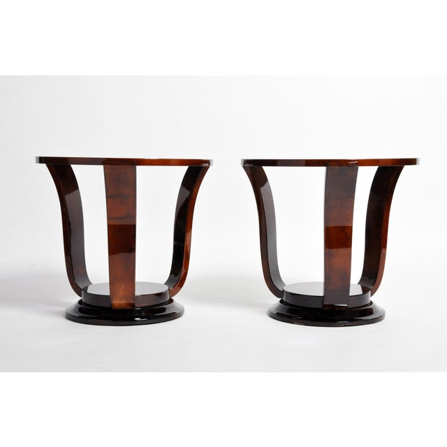 Art Deco Hungarian Walnut Veneer Round Side Tables - a Pair For Sale - Image 3 of 13