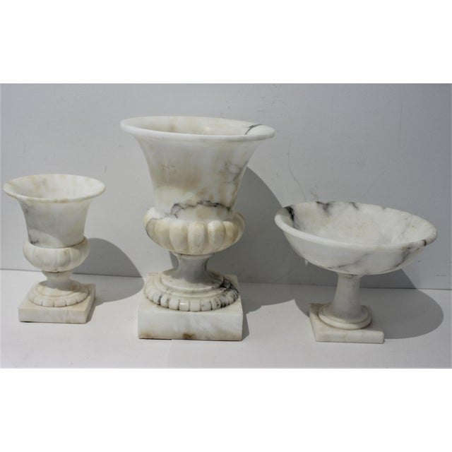 Vintage White Marble Urns and Compote - Set of 3 Pieces For Sale - Image 4 of 12
