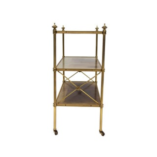 Petite Leather-Lined Brass Etagere or Bookshelf by Baker Preview
