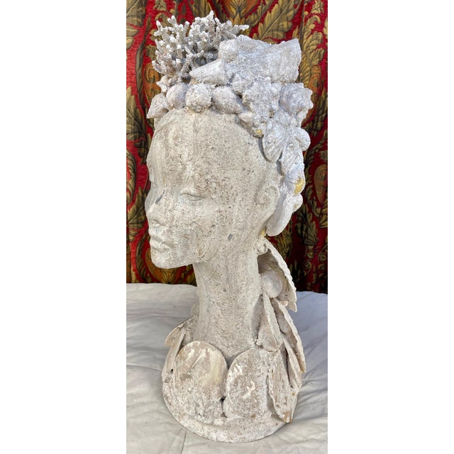 "1990s ""Sea Queen"" Woman Bust Sea Shell Sculpture For Sale In Palm Springs - Image 6 of 11"