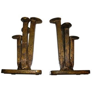 1968 Vintage Curtis Jere Abstract Metal Sculpture Bookends, Signed & Dated - a Pair For Sale