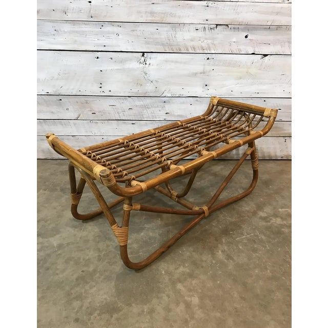 Mid Century Rattan Albini Ottoman/ Bench. This piece has wonderful lines and would fit in really well with any decor...