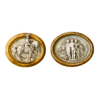 Neoclassical Framed Wall Decor Intaglios - a Pair For Sale