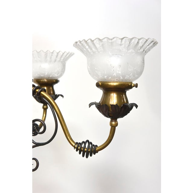 Four Light Brass and Wrought Iron Early Electric Fixture For Sale In Boston - Image 6 of 10