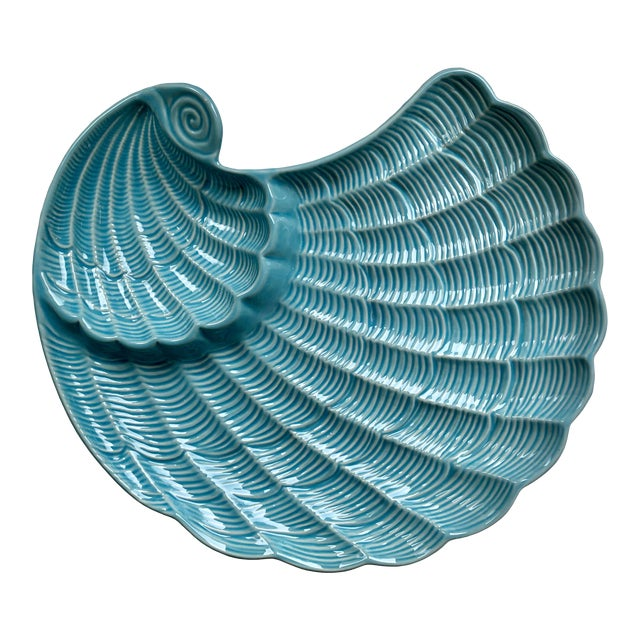 Modern Vintage Sadek by Andrea Blue & Antique White Ceramic Oyster Shell Serving Platter For Sale