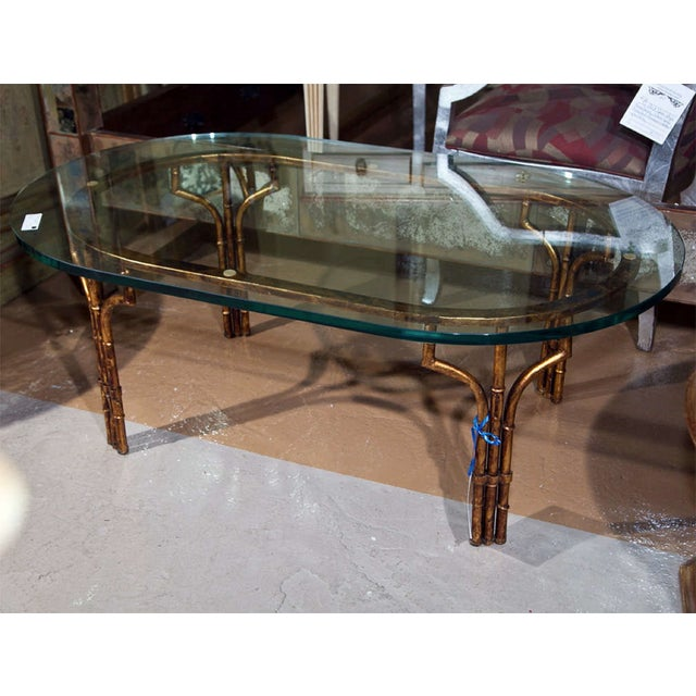 Superb Gilt FauxBamboo Coffee Table With Glass Top DECASO - Bamboo end table glass top