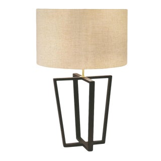 Capital Black Bronze Lamp With Linen Shade For Sale