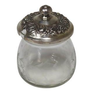 Vintage Kirk & Son Sterling Silver Etch Cut Glass Jam Jar For Sale