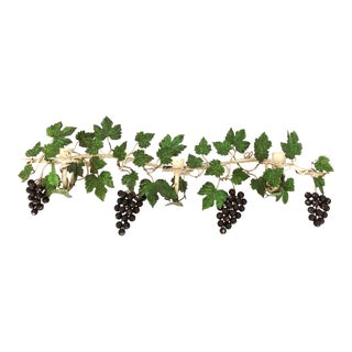 1950's Large Realistic Tole Grape & Vines Candle Wall Sconce For Sale